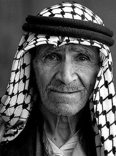 A portrait of an old Palestinian man