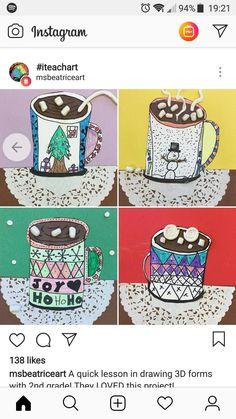 Art mugs air dry clay marshmallows - Kunstunterricht Christmas Art Projects, Winter Art Projects, Winter Crafts For Kids, School Art Projects, Art For Kids, Winter Thema, January Art, 2nd Grade Art, Mug Art