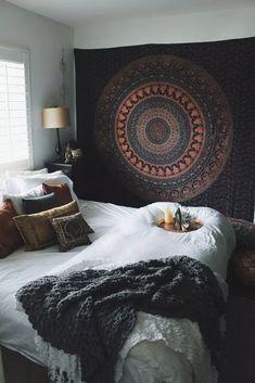 Image of autumn mandala tapestry bedroom decor boho, boho teen bedroom, college bedroom decor