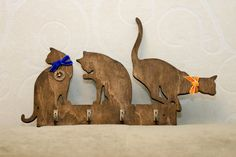 Handmade cats shaped wooden key holder, hooks, wall mounted, home decor, silhouette