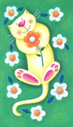 Cat Doodle, Doodle Art, Cat Quilt, Art Drawings For Kids, Happy Paintings, Cat Colors, Cat Paws, Cat Drawing, Whimsical Art