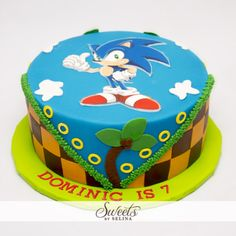 Gotta Go Fast if you wanna try a delicious slice from this cake! 50th Birthday Cake Images, Sonic Birthday Cake, Sonic Cake, Sonic Birthday Parties, Sonic Party, Sonic The Hedgehog Cake, Hedgehog Birthday, Party Cakes, Cake Designs