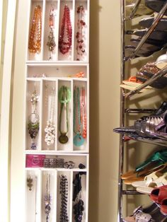 Silverware drawer trays as jewelry organizers. Why didn't I think of that?