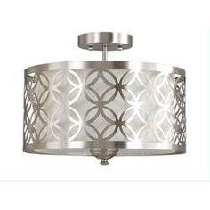 The perfect flush mount!! On trend and a great price! $80.00 at Lowes - allen + roth Earling 15-in W Brushed Nickel Fabric Semi-Flush Mount Light