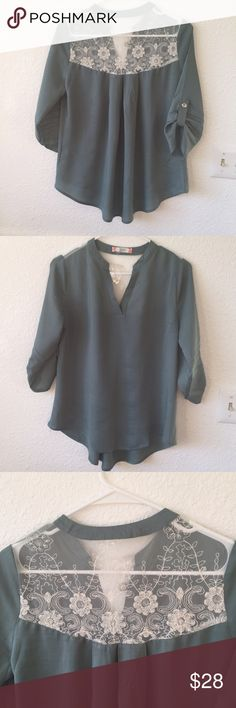 Lace back green blouse Brand new. Perfect for work or a night out. Boutique Tops Blouses