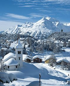St Moritz, Switzerland........ Ahhhhhh...to take trips here numerous times in the year! It is so pretty and I love the snow!!!!! (Majola)