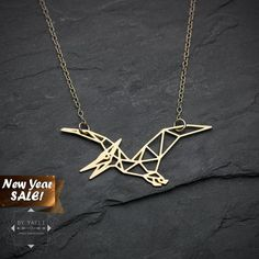 SALE Pterodactyl necklace dinosaur Necklace Origami by ByYaeli
