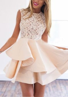 Apricot Plain Lace Hollow-out Zipper Double-deck Mini Flax Blend Dress #Lace #Mini_Dresses #Dresses