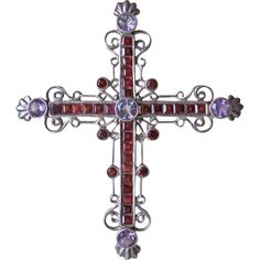 Antique silver cross with Garnets and Amethysts, 19th century
