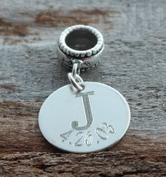 Wedding Annivesary Personalized Engraved Charm Bead - Pandora Compatible