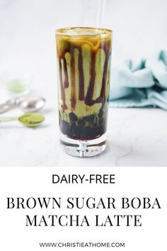 Brown Sugar Boba Matcha Latte. An iced matcha latte flavoured with a delicious brown sugar syrup with chewy bouncy bobas. The perfect dessert drink to have when you're craving matcha! #matcha #matchalatte #greentea #bubbletea #brownsugar #beverage #dessert #drink #drinks #drinkrecipe #beveragerecipe
