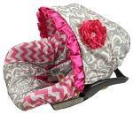 Grey Damask Infant Car Seat Cover