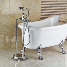 194.68$  Watch here - Chrome Free Standing Bathroom Tub Faucet Mixer Dual Handles Floor Mount Bathtub Filler with Handshower  #aliexpresschina