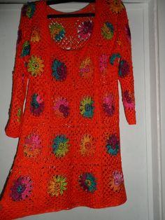 Crochet granny square orange tagerine multicolour by krittenart