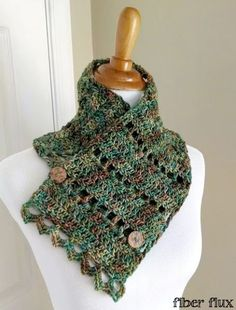 Earth Fairy Button Cowl, a free crochet pattern from Fiber Flux