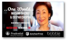 As author, spiritual leader, head of a global peace movement, & Chair of The #GoiPeaceFoundation, #TheWorldPeacePrayerSociety, and #ByakkoShinkoKai, #MasamiSaionji 's lives for Peace to Prevail on Earth. Watch her #ONEWORLD conversation with #DeepakChopra now on #NEWSWIREFM : newswire.fm/one_world/video.php?guest_id=289