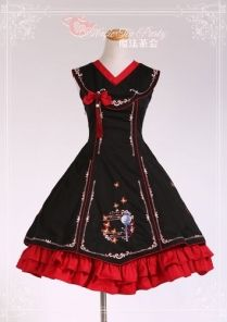 Sweet Cotten Chinese Style Coloured Embroidery Magic Tea Party Lolita  Jumper Dress Harajuku Mode b77d588530c99