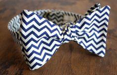 Blue Chevron Bow Tie Handmade by Lord Wallington