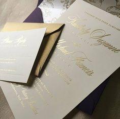 Gold Foil Invitation • Custom Wedding Invitation • Formal Wedding Invitation • Custom Design •  Envelope Liner • Wedding Invitation Design