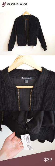 AA Black Bessette Corduroy Bomber Jacket NWT, this jacket is perfect for transitional weather- throw it over a tank w/ some jeans. This has been sitting in my closet for a while but has never been worn out. Size M, fits a little smaller in my opinion- it can fit XS-M depending on fit preference. American Apparel Jackets & Coats