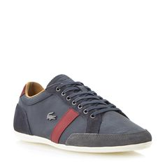 LACOSTE MENS ALISOS 20 - Contrast Stripe Leather Trainer - navy | Dune Shoes Online