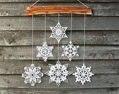 Items similar to Christmas decoration - snowflakes mobile - elegant Christmas decoration - Christmas holiday decor - 3 crochet snowflake and wood ornament on Etsysnowflake decor - Etsy's Woodstorming shop is known for charming products like these s Decoration Christmas, Snowflake Decorations, Christmas Wall Art, Noel Christmas, Handmade Decorations, Christmas Ornaments, Etsy Christmas, Crochet Snowflake Pattern, Christmas Crochet Patterns
