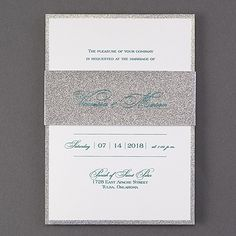 Dazzled. How could your guests NOT be when they get this wedding invitation with silver glitter edging and a printed silver glitter paper wrap?