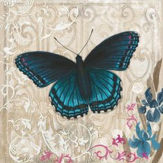 A Dark Blue Butterfly Painting Print on Wrapped Canvas