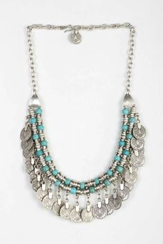 Sogno Bello Coin Necklace- Turquoise One from Urban Outfitters. Shop more products from Urban Outfitters on Wanelo. Gypsy Jewelry, Beaded Jewelry, Jewelry Box, Jewelery, Silver Jewelry, Jewelry Accessories, Fashion Accessories, Jewelry Necklaces, Handmade Jewelry