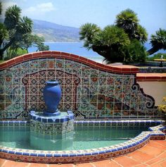 Fountain in Talavera tile - gorgeous artistry this house in Malibu is open to the public, right on the beach