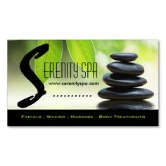Spa and Massage Business Card Template. I love this design! It is available for customization or ready to buy as is. All you need is to add your business info to this template then place the order. It will ship within 24 hours. Just click the image to make your own!