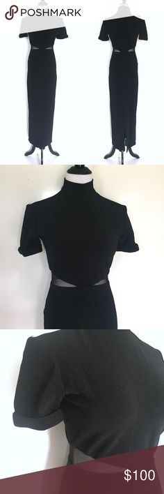 """Vintage 90's Dress with mesh cutouts AMAZING Vintage 90's Column Dress with mesh cutouts, short rolled sleeves, and mock turtleneck detail. Vintage size 6, however, it fits my size 4 mannequin perfectly as well. 92% polyester 8% Lycra net is 79% nylon 21% Lycra. Dry clean. Made in the USA. Back Zipper Closure. Measures 54.5"""" from shoulder to bottom of dress. OFFERS WELCOME Dresses"""