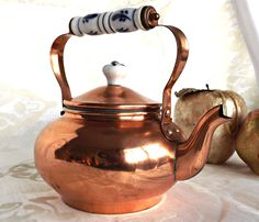 Your place to buy and sell all things handmade Copper Crafts, Copper Decor, Copper And Brass, Bronze, French Farmhouse, Delft, Kettle, Tea Pots, Buy And Sell