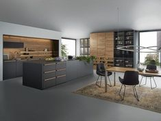 Fabulous Modern Kitchen Sets on Simplicity, Efficiency and Elegance - Home of Pondo - Home Design Kitchen Colour Schemes, Kitchen Colors, Color Schemes, Modern Kitchen Design, Interior Design Kitchen, Minimal Kitchen, Modern Design, Interior Decorating, Kitchen Flooring