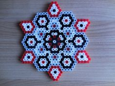 House ornament grey/ black/red Hama beads by TCAshop
