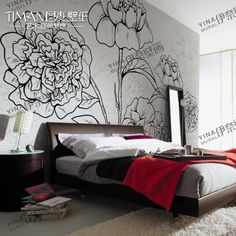 diy wall murals | Mural qiangbu wallpaper tv wall covering wallpaper tv wall flower diy ...  Trace favorite flower out of your seed catalogs and project onto wall.