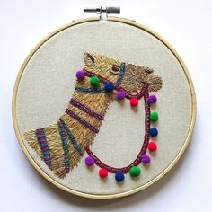 This pom pom camel is still one of my favourite embroideries Ive created so far. Im thinking of working on a llama version similar to this soon . Diy Embroidery Patterns, Hand Embroidery Projects, Hand Embroidery Videos, Creative Embroidery, Hand Embroidery Stitches, Embroidery Hoop Art, Ribbon Embroidery, Camel Craft, Contemporary Embroidery