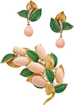 Estate Jewelry:Suites, Coral, Diamond, Enamel, Gold Jewelry Suite, circa 1960. ... (Total:2 Items)