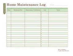 Free Household Notebook with 36 Printables: Home Maintenance Log