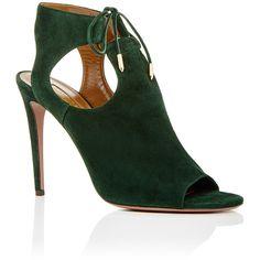 Aquazzura Green Suede Jade Tie Heels (2.122.855 COP) ❤ liked on Polyvore featuring shoes, pumps, cutout pumps, green shoes, green pumps, cut-out shoes and cut out pumps