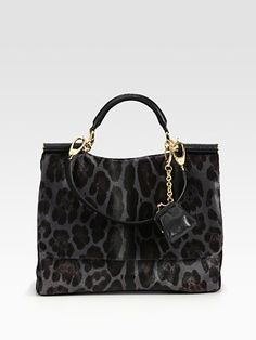 032946bb9639 Dolce   Gabbana Miss Soft Sicily Leopard Print Hair Calf Satchel. Gigi  Sando · my pretty purses