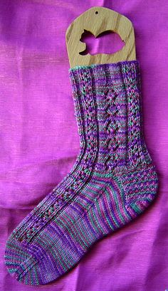 Spring Tulips Socks by Janet Gallagher knit in a light fingering 3ply, top-down-cuff, wide toe and heel flap ~ FREE pattern download