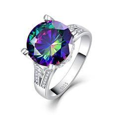 Fantaisie 925 SILVER PRINCESS CUT Mystic rainbow Topaz Boucles d'oreille Mariage Fête Bijoux