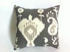 Ikat Decorative Throw Pillow Cover in Pewter 18x18 by Pillomatic, $16.00