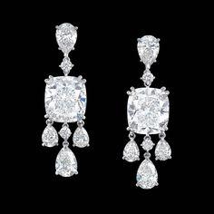 Ronald Abram 11.49 carat Cushion Cut Diamond Earrings