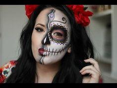 Sugar Skull/Day of the Dead Makeup Tutorial ~ HALLOWEEN 2015 Video – Uñas Coffing Maquillaje Peinados Tutoriales de cabello Skeleton Face Makeup, Half Face Makeup, Sugar Skull Makeup Tutorial, Smokey Eye Makeup Tutorial, Day Of Dead Makeup, Day Of The Dead Makeup Half Face, Sugar Skull Face Paint, Nyx, Face Awards