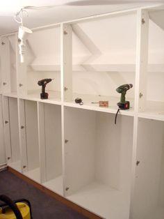 Fabric Storage Diy Closet Ideas For 2019 Attic Bedroom Closets, Attic Closet, Attic Rooms, Attic Spaces, Bathroom Cabinet Organization, Diy Kitchen Storage, Diy Storage, Tall Cabinet Storage, Ceiling Storage