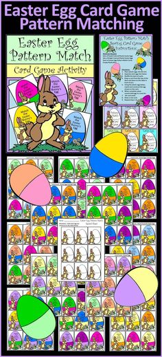 Easter Egg Pattern Match Card Game Activity: This matching game practices color recognition and fine motor skills in a hands-on and fun way. Children match the pattern found on their card to construct the egg using a bin of plastic Easter eggs.  Contents include: * Instruction Sheet * Card Deck (144 Cards with different color patterns) * Card Back Template (optional) * Student Record Sheet Color & Grayscale Version  #Easter #Eggs #Games #Patterning #Activities #Teacherspayteachers