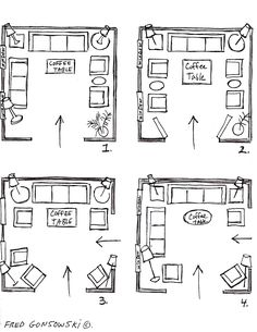 "It's EASY to Arrange Furniture in a Square Living Room, some Ideas that will Inspire You (NOTE: ""furniture arranging is really the same if your room is square or rectangular, or small, medium or large-sized. If you measure your room's length and width for feet, then turn those feet into inches and make a graph of squares..., you can then make paper templates and start arranging them on your graph until up come up with an arrangement / grouping that you think will work for you."")"