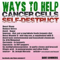 good ways to help cancer cells self-destruct / cancer prevention. just in case loved ones need it!